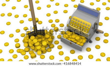 Financial success. The open cash register filled with USA coins, shovel and a lot of coins on a white surface. The concept of financial success. 3D Illustration