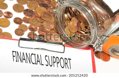 Financial support concept with jar of money and financial support statement - stock photo