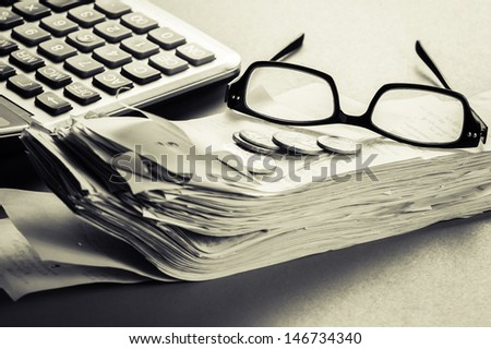 Financial work on the desk - stock photo
