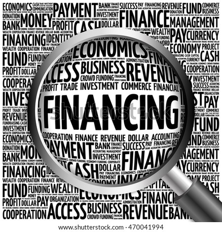 FINANCING word cloud with magnifying glass, business concept 3D illustration