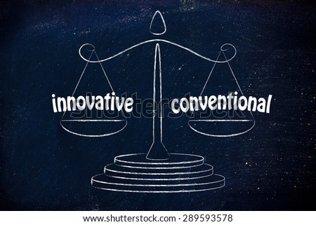find a good balance for your business between innovative and conventional - stock photo