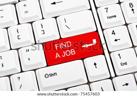 Find a job key in place of enter key - stock photo