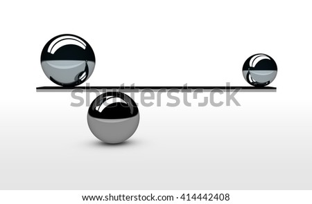 Find and achieve the perfect balance concept 3d illustration with balancing between two metal spheres with different size.