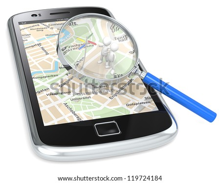 Find. Black Smartphone with a GPS map and 3D people looking at Road Sign. Magnifying Glass.