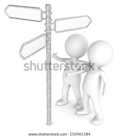 Find. 3D little human character X 2 Looking at a Directional Sign. Blank for Copy Space. People series. - stock photo