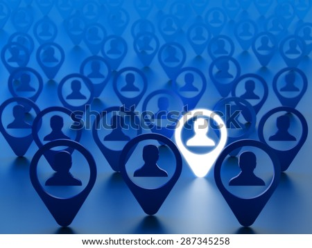 Find friend, hire employee or choice person concept. Avatars of people social network accounts with the chosen one on blue background - stock photo