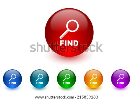 find internet icons colorful set - stock photo