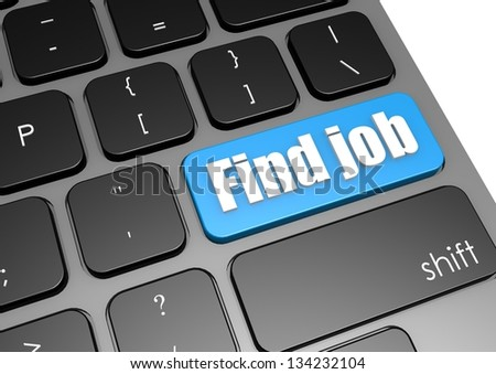 Find job with black keyboard - stock photo