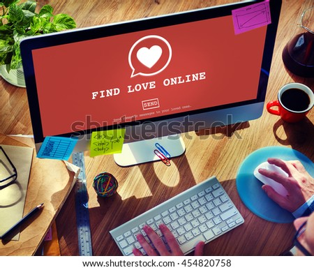 Find Love Online Valentines Romance Love Heart Dating Concept - stock photo