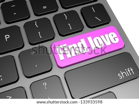 Find love with black keyboard - stock photo