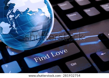Find love with black keyboard and glass globe above