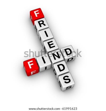 find new friends (cubes crossword puzzle) - stock photo