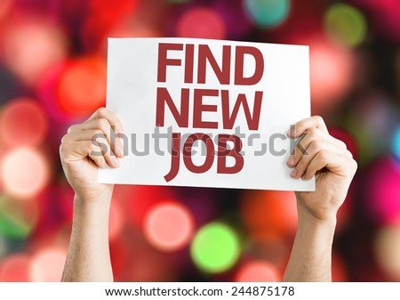 Find New Job card with colorful background with defocused lights - stock photo