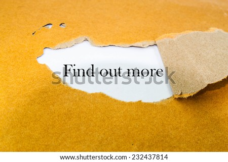 find out more concept on brown envelope - stock photo