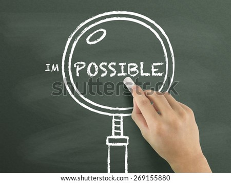 find out possibility with magnifying glass drawn by hand over chalkboard  - stock photo