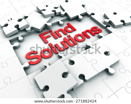Find Solutions puzzle tiles - stock photo