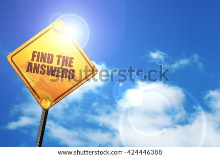 find the answers, 3D rendering, a yellow road sign - stock photo