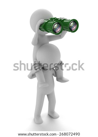 Find the opportunity/A 3d people searching with the binoculars. 3d image. Isolated white background - stock photo