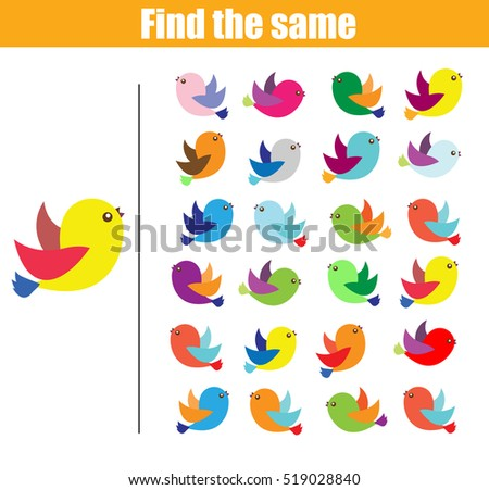 Find the same pictures children educational game. Find equal birds kids activity
