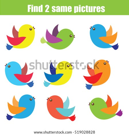 Find the same pictures children educational game. Find equal pairs of birds kids activity
