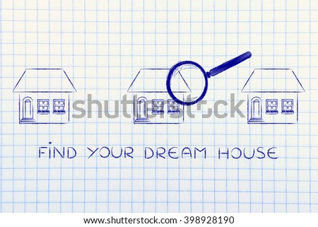 find your dream house: magnifying glass analyzing a group of residential buildings - stock photo