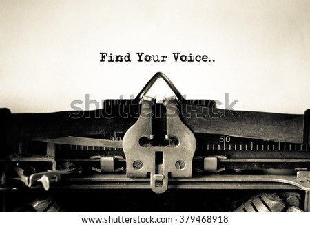 Find Your Voice message typed on vintage typewriter
