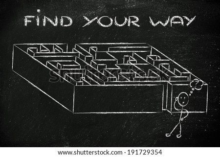 find your way and a solution to problems: maze metaphor design - stock photo