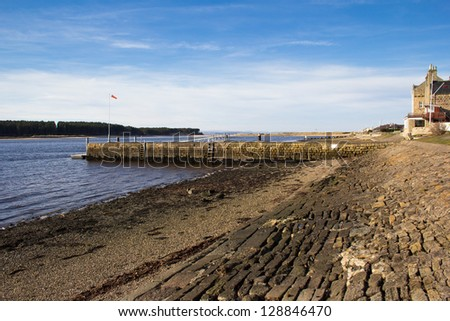 Findhorn pier, Scotland - stock photo