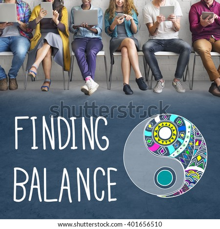 Finding Balance Yin-yang Wellbeing Concept - stock photo