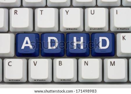 Finding Information about ADHD on the Internet, Computer keyboard keys with word ADHD