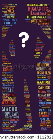 Finding Mr. Right: text graphics - stock photo