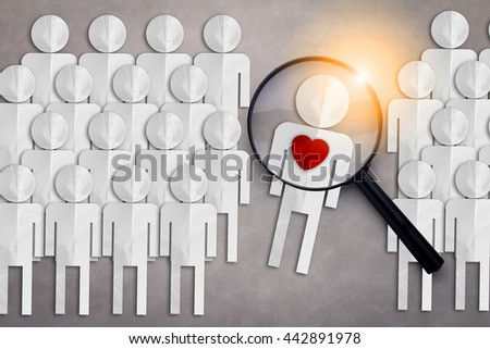finding true love from others love concept people paper cut and magnifying glass - stock photo
