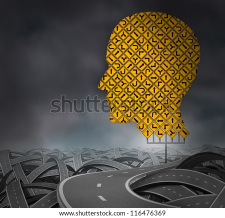 Finding your way in a challenging environment as a business career choice or health care decisions with a group of yellow road signs in the shape of a human head with confused highways on a dark sky.