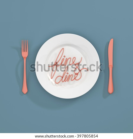 Fine and dine Quote Typographical Background. minimal illustration with fork and spoon - 3D rendering 3D illustration - stock photo