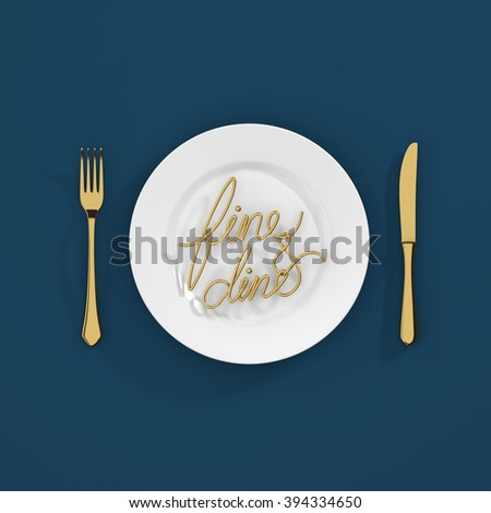 Fine and dine Quote Typographical Background. minimal illustration with fork and spoon - gold dark blue - stock photo