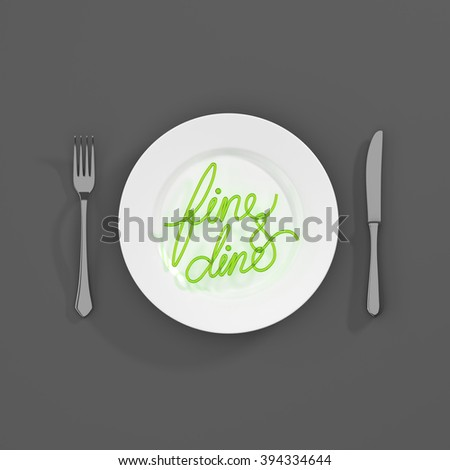 Fine and dine Quote Typographical Background. minimal illustration with fork and spoon - green white grey - stock photo