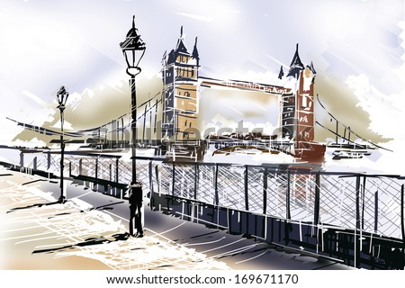 Fine art drawing of the famous travelling landmark, The Tower Bridge in London UK with boardwalk and Thames. Travelling Great Britain - stock photo