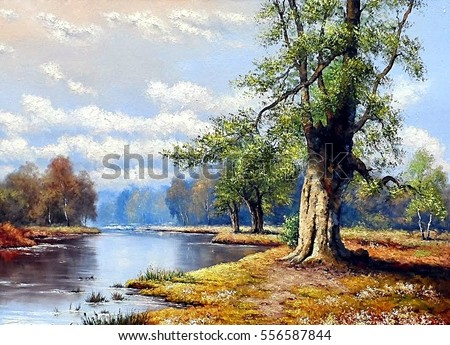 Landscape painting stock images royalty free images for Oil painting scenery