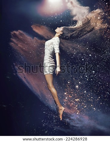 Fine art photo of a beautiful girl dancing - stock photo