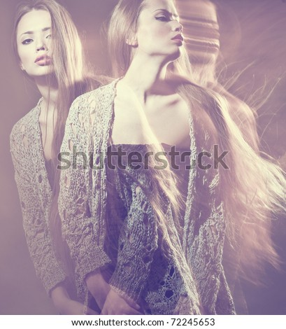 Fine art photo of a beautiful young girl with multiexposition - stock photo