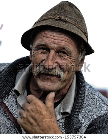 Fine art photo portrait of elderly man with wrinkled closeup face - stock photo