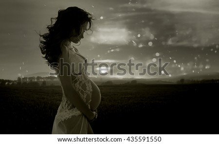 Fine art portrait of a pregnant woman - stock photo