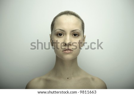 Fine art portrait of elegant girl. Studio photo. Beautiful woman - stock photo
