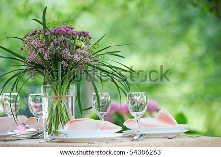 Fine Banquet Table Setting With Bouquet - stock photo