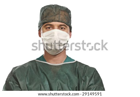 fine close up portrait of surgery isolated on white background