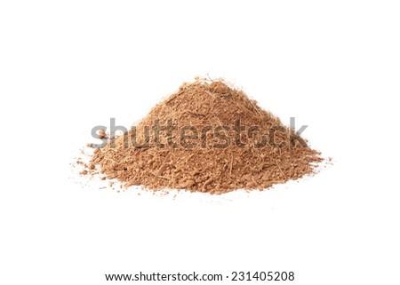 fine coconut husk fiber organic fertilizer isolated                                - stock photo