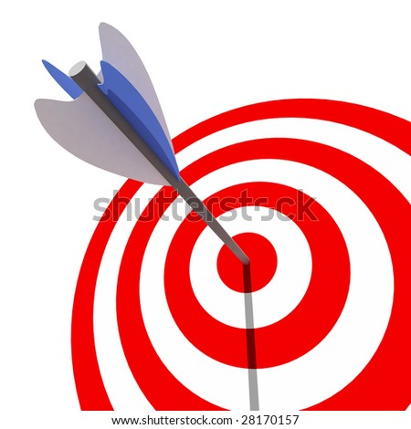 fine 3d image of classic red and white target with arrow