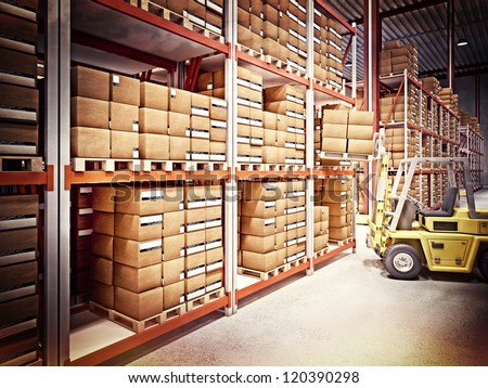 fine 3d image of classic warehouse vintage style - stock photo