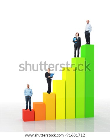 fine 3d image of financial graph and standing worker - stock photo