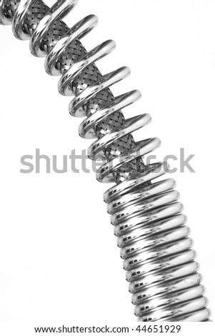 fine detail of metal springer isolated on white background
